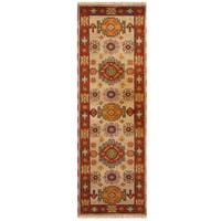 Handmade Herat Oriental Indo Tribal Kazak Wool Runner (India) - 2'2 x 6'9