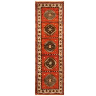 Herat Oriental Indo Hand-knotted Tribal Kazak Wool Runner (2'10 x 8'7)