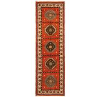 Herat Oriental Indo Hand-knotted Tribal Kazak Wool Runner - 2'10 x 8'7