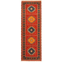 Handmade Herat Oriental Indo Tribal Kazak Wool Runner  - 2'10 x 8'3 (India)