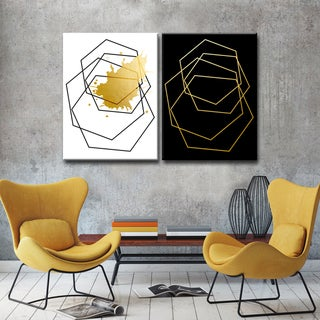 Link to Carson Carrington  Gilt Mod III/IIIB' 2-piece Wrapped Canvas Wall Decor Similar Items in Matching Sets