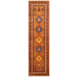 Herat Oriental Indo Hand-knotted Tribal Kazak Wool Runner (2'9 x 10')