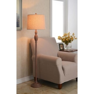 Latte Spindle Floor Lamp With Cream Shade Free Shipping