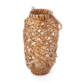 Elements 16 In LED Honey Cylinder Wicker Lantern