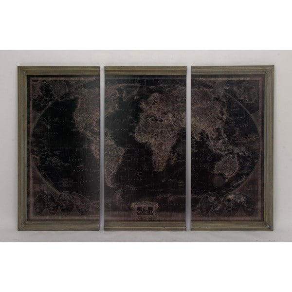 Shop assorted antiqued world map wood wall panels set of 3 ships assorted antiqued world map wood wall panels set of 3 gumiabroncs Image collections
