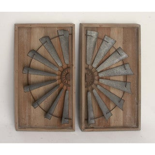 Architectural Wood Metal Wall Panel, Set Of 2