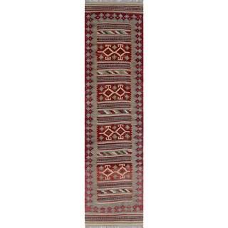 Sangat Rosa Rust/Green Wool Runner Rug (2'8 x 9'11)