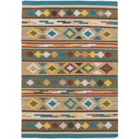 ecarpetgallery Hand-Woven Izmir Kilim Green  Wool Kilim (4'1 x 5'10)