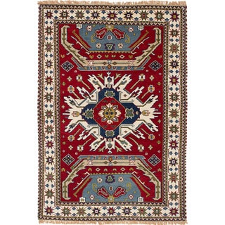 eCarpetGallery Kazak Red Wool Hand-knotted Rug (4'5 x 6'7)