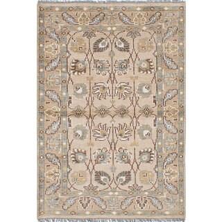 ecarpetgallery Hand-Knotted La Seda Yellow Wool & Art Silk Rug (4'6 x 6'6)