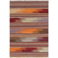 eCarpetGallery Handmade Izmir Kilim Flatweave Red Wool Area Rug (4'7 x 6'7)