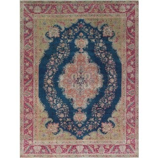Noori Rug Vintage Distressed Zouhir Blue/Red Rug - 9'7 x 12'4