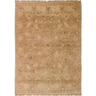 ecarpetgallery Hand-Knotted Royal Ushak Yellow  Wool Rug (4'7 x 6'6)