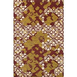 eCarpetGallery Hand-Knotted La Seda Red Wool and Art Silk Rug - 4'11 x 7'8