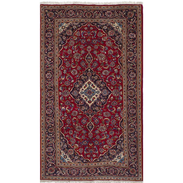 Shop Ecarpetgallery Hand Knotted Persian Kashan Red Wool: Shop ECarpetGallery Kashan Red Wool Hand-knotted Rug (4'11