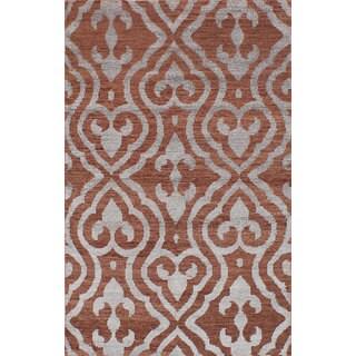 ecarpetgallery Hand-Knotted La Seda Brown Wool & Art Silk Rug (5'0 x 7'11)