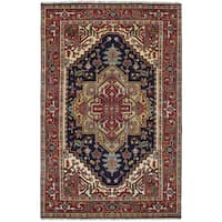 eCarpetGallery Hand-knotted Serapi Heritage Blue/Brown Wool Rug - 5' x 8'