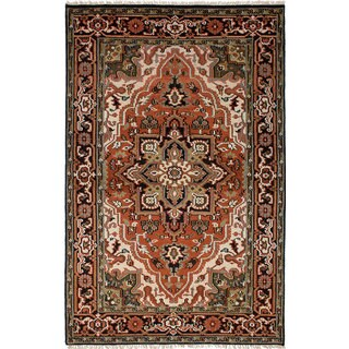 ecarpetgallery Hand-Knotted Royal Heriz Brown Wool Rug (5'1 x 7'9)