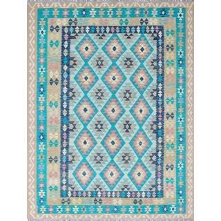 Sangat Chaymae Teal Green/Gold Wool Rug (8'8 x 11'2)