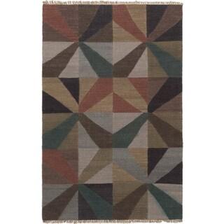 eCarpetGallery Izmir Green Handwoven Wool Kilim (5'2 x 8'0)