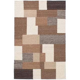 ecarpetgallery Hand-Woven Izmir Kilim Brown, Ivory  Wool Kilim (5'3 x 8'2)