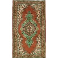 eCarpetGallery Hand-knotted Melis Vintage Brown Wool and Cotton Rug (5'3x9'3)