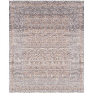 ecarpetgallery Hand-Knotted Parklane Grey Rayon from Bamboo Silk Rug (8'0 x 9'11)