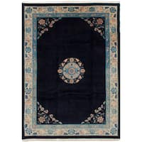 eCarpetGallery Hand-knotted Aubousson Blue Wool Rug (8'0 x 11'6)