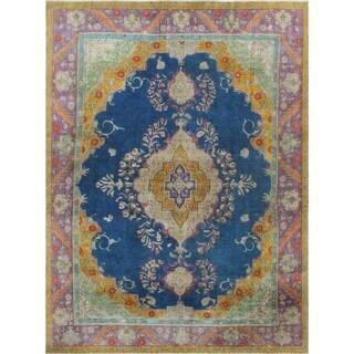 Noori Rug Vintage Synne Blue/ Purple Wool Hand-knotted Rug (9'3 x 12'7)