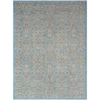 Yousafi Mourad Light Blue/Grey Wool Rug (8'11 x 12'0)