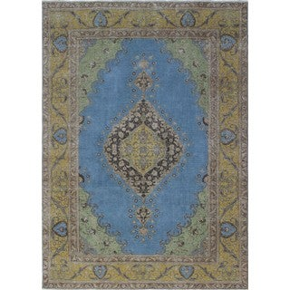 Vintage Issam Blue/Gold Wool Rug (7'5 x 10'7)