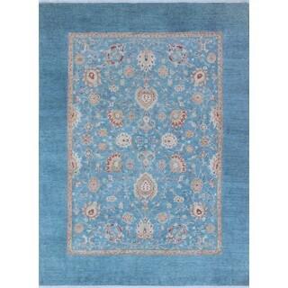 Yousafi Zoda Blue/Gold Wool Area Rug (7'10 x 10')