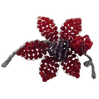 Luxiro Silver-tone Red and Purple Beads Flower Pin Brooch
