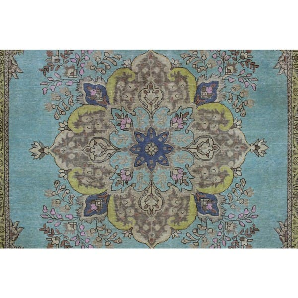Vintage Roxann Blue And Green Wool Rug Overstock 15388409
