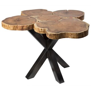 Wanderloot Deschutes Acacia Log Dining Table With Black Metal Pedestal