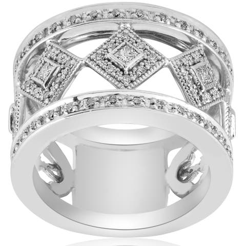 18K White Gold 5/8 ct TW Diamond Vintage Princess Cut Bezel Set 13mm Wide Right Hand Ring (G-H,SI1-SI2)