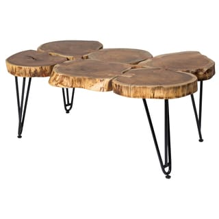 Wanderloot Deschutes Acacia Log Coffee Table With Hairpin Legs