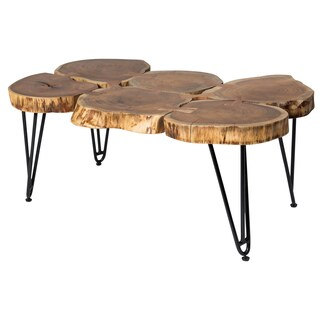 Handmade Wanderloot Deschutes Acacia Log Coffee Table With Hairpin Legs (India)