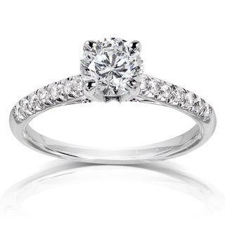 Annello by Kobelli 14k White Gold 1 1/6ct TDW Round Diamond Engagement Ring (H-I, I1-I2)