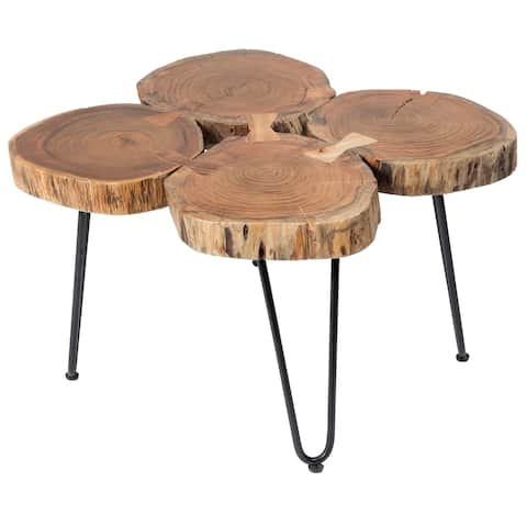 """Handmade Deschutes Acacia Log Coffee Table - 19.5"""" x 27"""" x 30"""" (India)"""