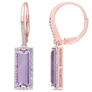 Miadora Rose Gold Plated Sterling Silver Baguette-Cut African-Amethyst and White Sapphire Halo Leverback Earrings