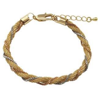 Luxiro Tri-color Gold Finish Twisted Rope Mesh Bracelet