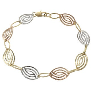 Luxiro Tri-color Gold Finish Textured Marquise Link Bracelet