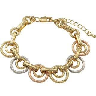 Luxiro Tri-color Gold Finish Textured Circle Link Bracelet