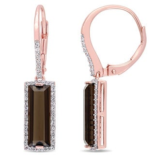 Miadora Rose Plated Sterling Silver Baguette Smokey Quartz White Sapphire Halo Bar Leverback Earrings