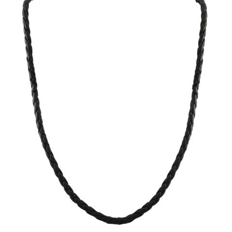 Luxiro Rhodium Finish Black Faux Leather Braided Cord Necklace