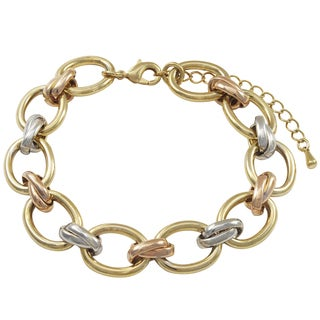 Luxiro Tri-color Gold Finish Oval Link Bracelet