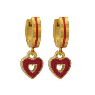 Luxiro Gold Finish Red Enamel Heart Children's Huggie Dangle Earrings