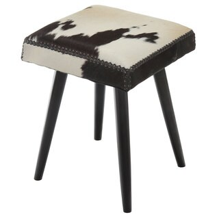 Harley Cowhide & Mahogany Accent Stool