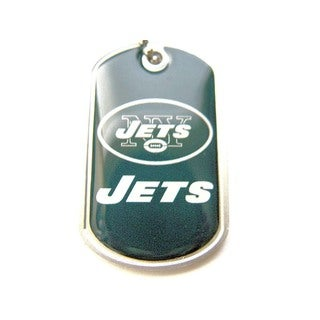 NFL New York Jets Dog Tag Domed Necklace Charm Chain